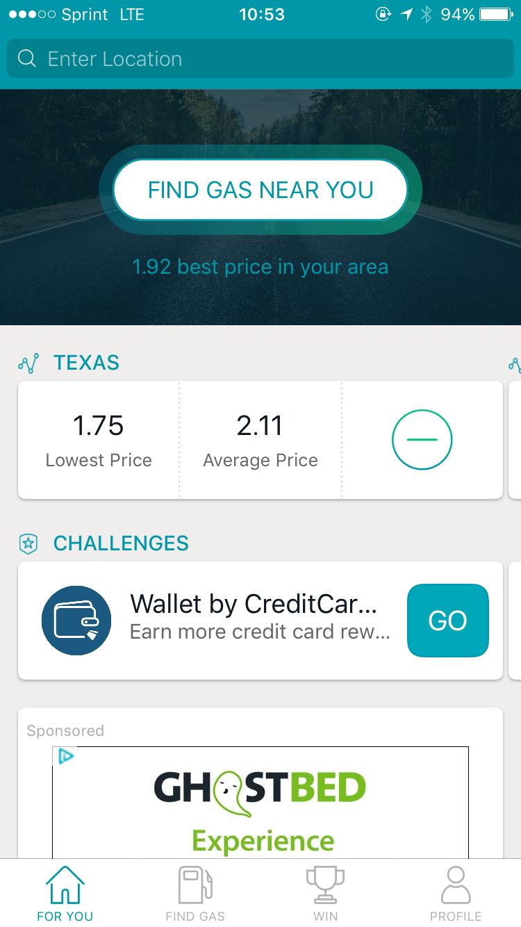 Gas Buddy travel app